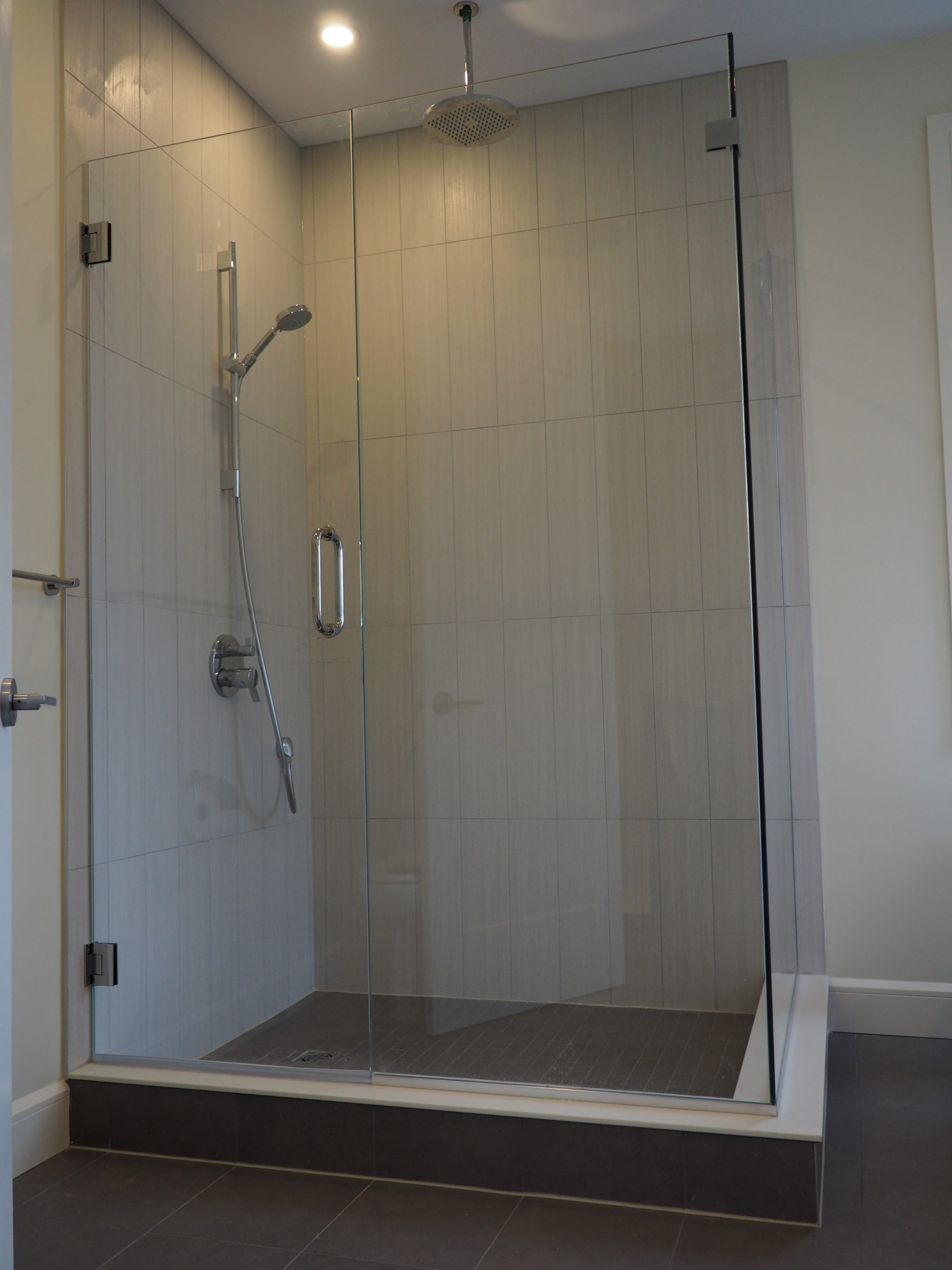 Custom Tile and Seamless Glass Shower Enclosure