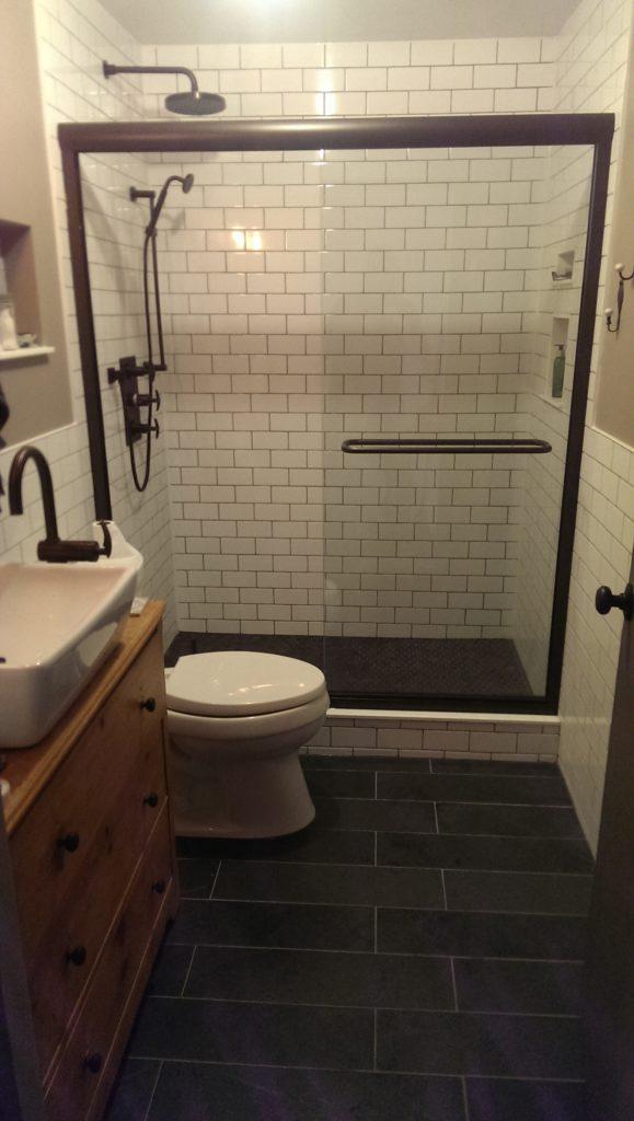 Custom Modified Dresser Vanity and Slate Floors