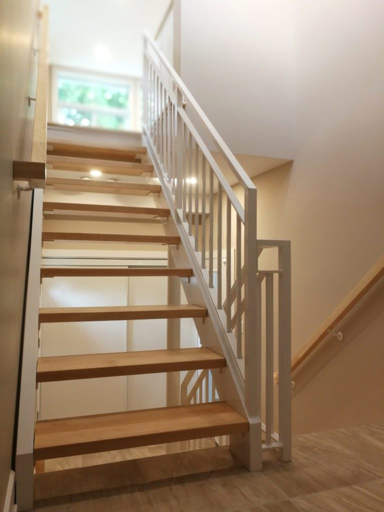 Custom Aluminum Rails and Staircase with Solid Maple Treads