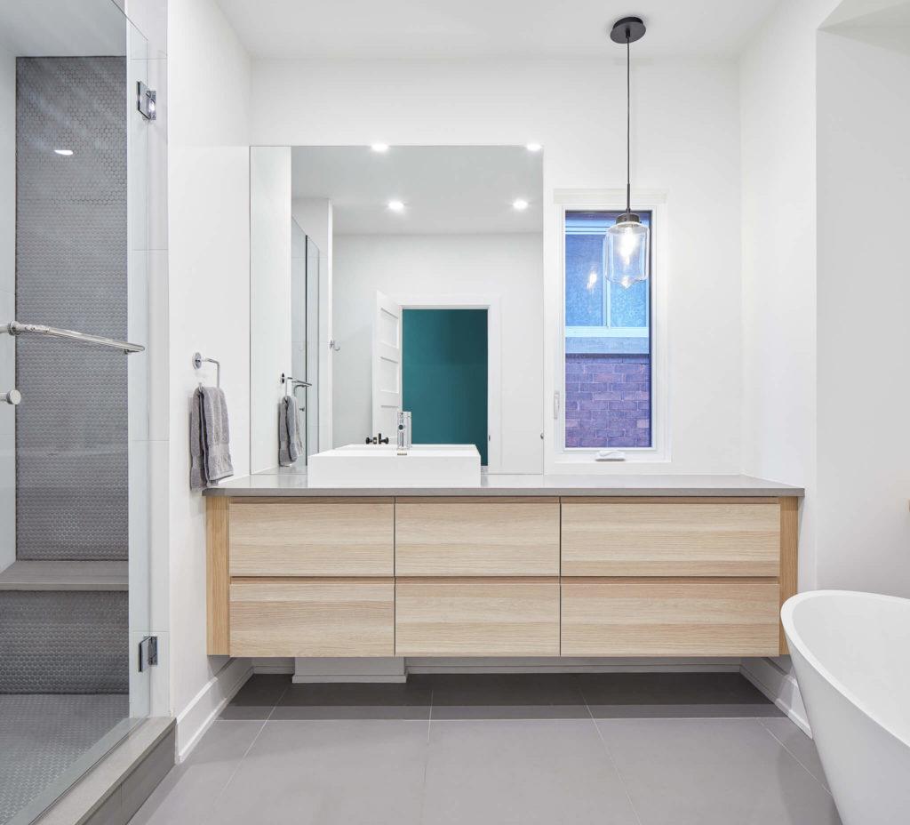 Quartz Composite Countertop, Sills and Shower Seat